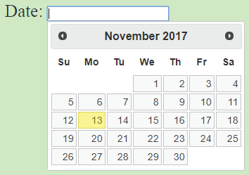 datepicker shows up as popup
