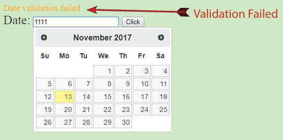 datepicker validation failed