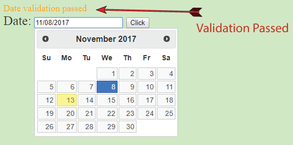datepicker validation passed