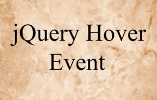 Learning jQuery Hover Event – .hover()