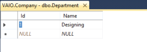 inserting record on department table
