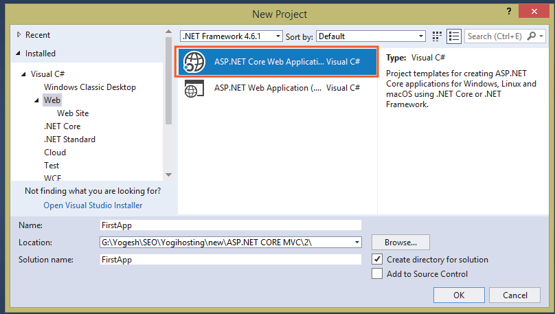 asp.net core web application template in visual studio 2017