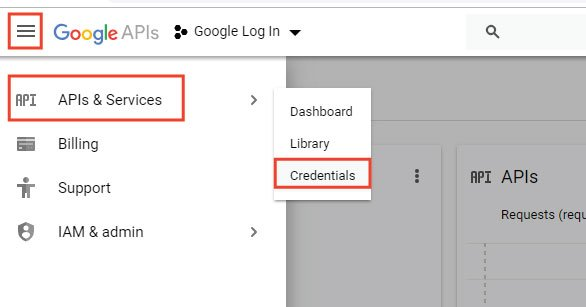 create project credentials in google console