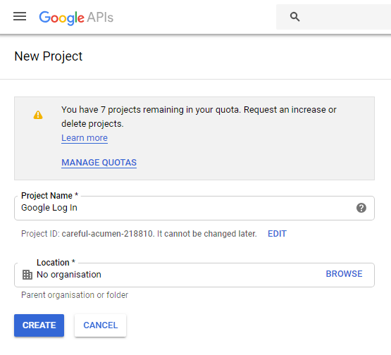 create project in google console