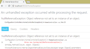 exception with stack trace