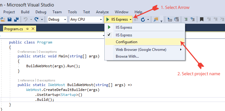 select Kestrel in visual studio