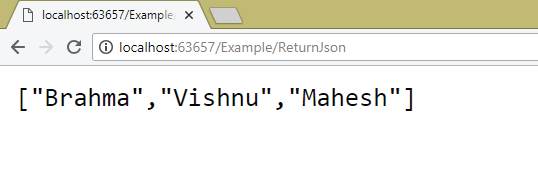 return json from action