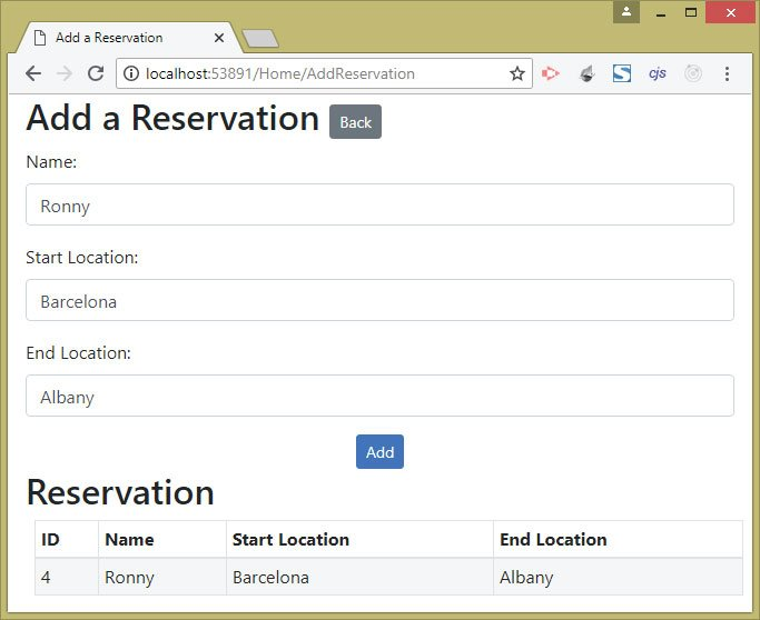 creating a new reservation by calling the api