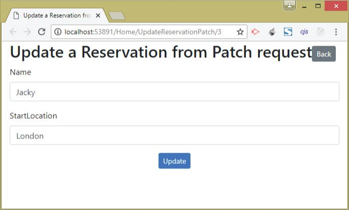update reservation patch view