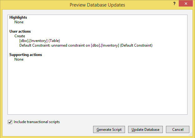 Preview Database Updates Window