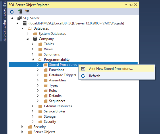 add new stored procedure