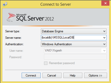 connecting to sql server in ssms