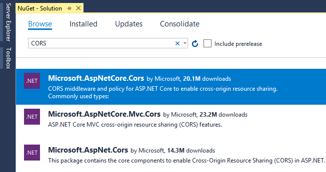 CORS package in NuGet
