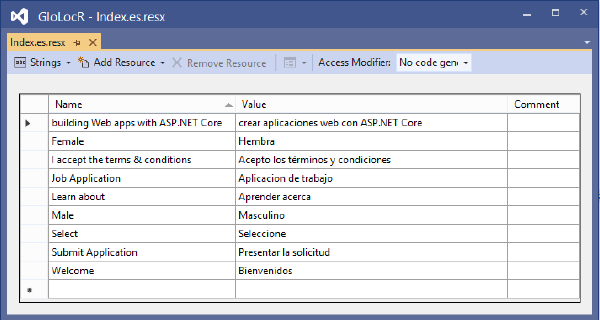 View Spanish Resource File