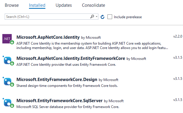ASP.NET Core Identity Packages