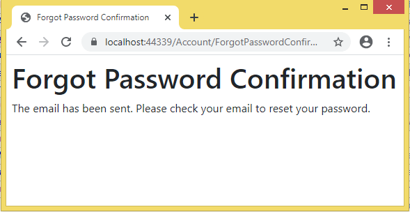 password confirmation message
