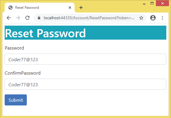 reset password page