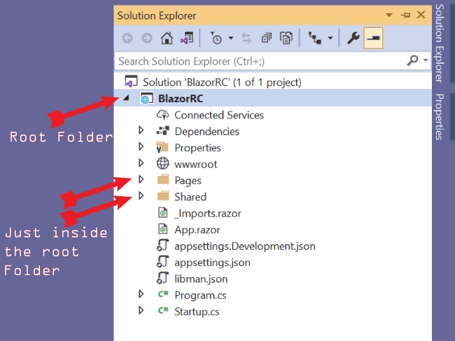 location of pages and shared folder in blazor app