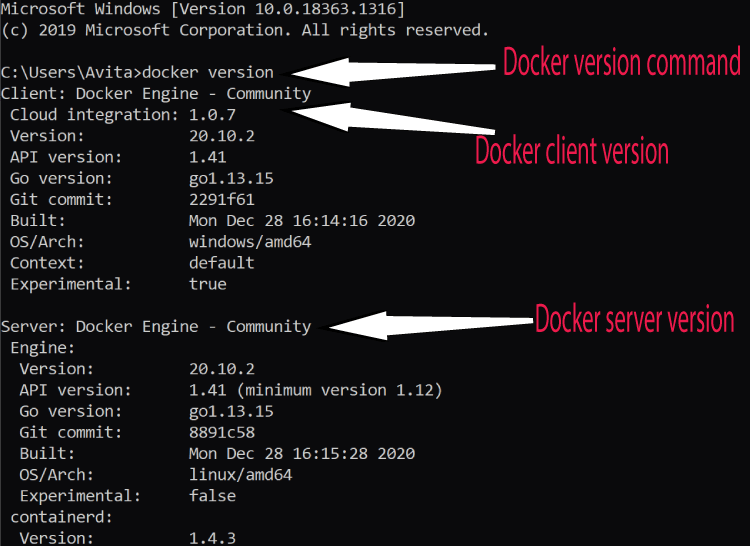 docker version command