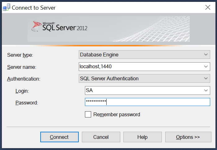 ssms connect docker container