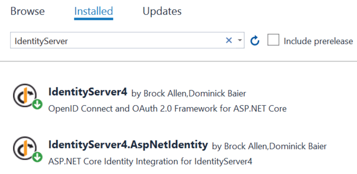 IdentityServer Packages